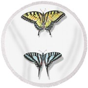 Collection Of Two Butterflies Round Beach Towel
