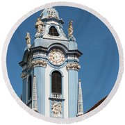 Collegiate Church Blue Tower Round Beach Towel