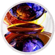 Colliding Forces Abstract Round Beach Towel