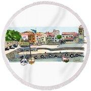 Collioure,    Cote De Vermeille Round Beach Towel