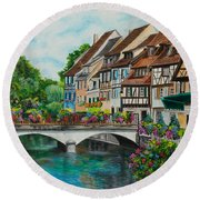 Colmar In Full Bloom Round Beach Towel