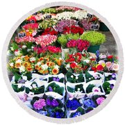 Cologne Flowers Round Beach Towel