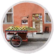 Colombia Fruit Cart Round Beach Towel