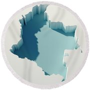 Colombia Simple Intrusion Map 3d Render Round Beach Towel