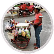 Colombia Srteet Cart Round Beach Towel