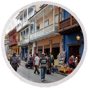Colombia Streets Round Beach Towel