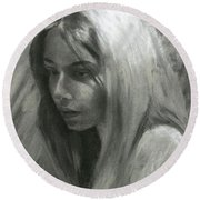 Portrait Of Woman In Charcoal Round Beach Towel