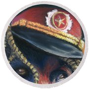 Colonel Nose Knows Close-up Round Beach Towel