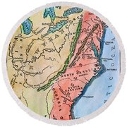 Colonial America Map Round Beach Towel