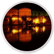 Colonial Beach Docks After Dark Round Beach Towel