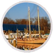 Colonial Beach Docks Round Beach Towel