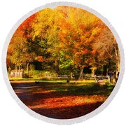 Colonial Fall Colors Round Beach Towel