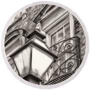 Colonial Lamp And Window Bw Round Beach Towel
