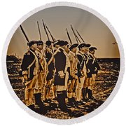 Colonial Soldiers On Parade Round Beach Towel