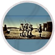 Colonial Soldiers Standing At Attention Round Beach Towel