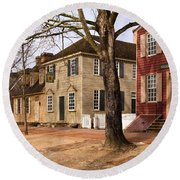 Colonial Street Scene Round Beach Towel