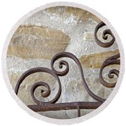 Colonial Wrought Iron Gate Detail Round Beach Towel