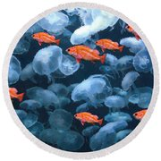 Color And Colorless Fish Round Beach Towel