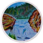 Color At The Firehole Round Beach Towel