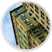 Color Buildings Architecture New York  Round Beach Towel