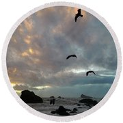 Color Burst Sunset Round Beach Towel