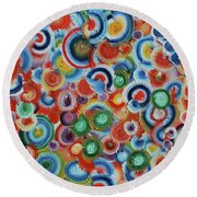 Color Circles 201811 Round Beach Towel