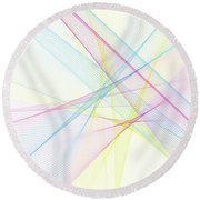 Color Computer Graphic Line Pattern Round Beach Towel