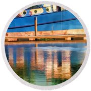 Color Dancing On Water Round Beach Towel