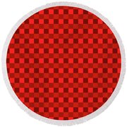 Color Dots On Red Drawing Abstract #7 Round Beach Towel