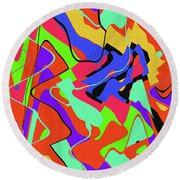 Color Drawing Abstract #3 Round Beach Towel