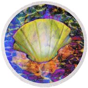 Color In Shell Round Beach Towel