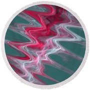 Color In Waves Round Beach Towel