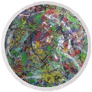 Color Map From The Sky And Ice Figure  Round Beach Towel