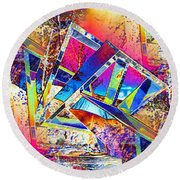 Color Me Abstract Round Beach Towel
