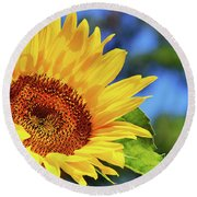 Color Me Happy Sunflower Round Beach Towel