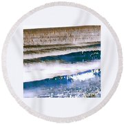 Color Movement-blue And Beige Round Beach Towel