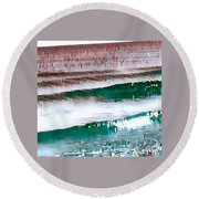 Color Movement-turquoise And Red Round Beach Towel