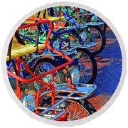 Color Of Bikes Round Beach Towel