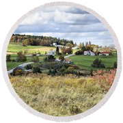 Color On The Hills Round Beach Towel