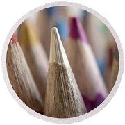 Color Pencils Close-up Round Beach Towel