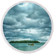 Color Play Before Storm Round Beach Towel