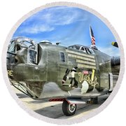 Color Side Wwii B-24j Round Beach Towel