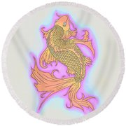 Color Sketch Koi Fish Round Beach Towel