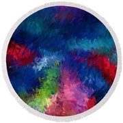 Color Splash Abstract 080210 Round Beach Towel