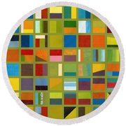 Color Study Collage 64 Round Beach Towel by Michelle Calkins