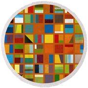 Color Study Collage 66 Round Beach Towel by Michelle Calkins
