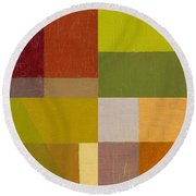 Color Study With Orange And Green Round Beach Towel by Michelle Calkins