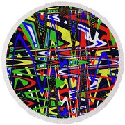 Color Works Abstract Round Beach Towel