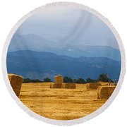 Colorado Agriculture Farming Panorama View Round Beach Towel