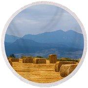 Colorado Agriculture Farming Panorama View Pt 2 Round Beach Towel